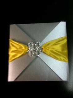 Silver and Yellow Wedding Invitation  Serenity by AmiraDesign,