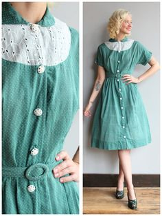 1950s Dress // Green Swiss Dot Dress // vintage by dethrosevintage