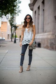 Fave: Laser Cut-Outs. - Mia Mia Mine. Free People Lace Top, Shopbop Choker, Asos Gray Jeans, Gucci 'Dionysus' Bag, Sorial Booties, Free People Sunglasses