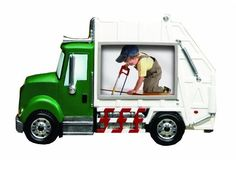 $16.95 ~ Prinz 3-1/2-Inch by 2-1/2-Inch #Garbage #Truck Green Picture Frame  #Prinz