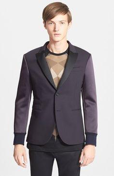 Men's Neil Barrett Slim Fit Satin Sleeve Tuxedo Jacket, Size 50 EU - Blue