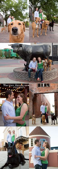 engagement photography with dogs downtown durham