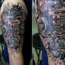 What does family crest tattoo mean? We have family crest tattoo ideas, designs, symbolism and we explain the meaning behind the tattoo. Family Tattoos For Men, Rose Tattoos For Men, Cool Tattoos For Guys, Sleeve Tattoos For Women, Men Tattoos, Tattoo Designs For Girls, Tattoo Designs Men, Family Crest Tattoo, Tatoo