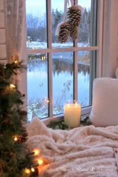 Imagine sitting by this windowsill. A vanilla candle burning and seasonal greens a