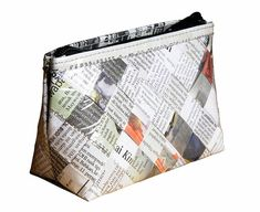 Makeup case made from newspaper FREE SHIPPING vegan organic gift idea for  vegan female friend make up organizer bag eco friendly gifts of K e198c35c0780f