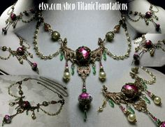 Rose Pink Forest Green Crystal Pearl Necklace Steampunk Jewellery Vintage Victorian Style Bridal China Tea Rose By Titanic Temptations