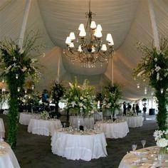 Wedding with Tent , Tent liner(overhead) Chandelier's. Just  Beautiful