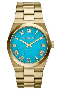 MICHAEL+Michael+Kors+Michael+Kors+'Channing'+Turquoise+Dial+Bracelet+Watch,+38mm+available+at+#Nordstrom