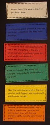 Blooms guided reading questions. After reading a book, kids must choose a question card of each color to answer. Shows both basic and higher level thinking. Follow link to a FREE PDF file.