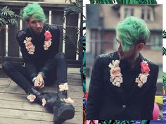 DIY Birthday Outfit ♈ (by Bobby Raffin) http://lookbook.nu/look/4777453-Diy-Rose-Lapel-Leather-Patch-And-Flower-Platforms