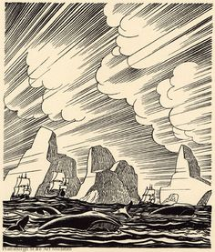 "Woodcut illustration for ""Moby Dick: volume III"" (1930) by American artist & printmaker Rockwell Kent (1882-1971). via linea curve"