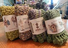 Personalized Dishcloth Wrapper Labels for your hand knitted or crocheted gifts @ Knit Knot Purl Curl: She has many designs to choose from, including designs for baby washcloths.  I've bought several of her inexpensive labels; pdf's which you can re-use over and over again.