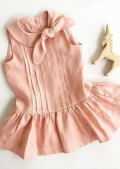 Etsy Gift Guide: Linen For Little PeopleAre you looking for beautiful gifts for the little people in your life? Feeling uninspired by the mass produced toys and clothes in the stores?Blush Pink Eleanor dress in linenlove the tuck details and the bow! Baby Girl Dress Design, Baby Girl Dress Patterns, Baby Frocks Designs, Kids Frocks Design, Frocks For Girls, Little Girl Dresses, Toddler Girl Dresses, Baby Girl Fashion, Kids Fashion
