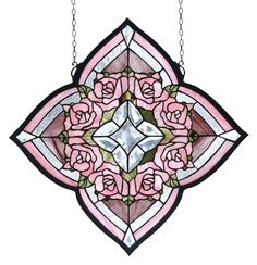 "20""W X 20""H Ring Of Roses Stained Glass Window"