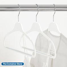 Organize your closet and conserve hanging space with our slim but durable Non-Slip Rubberized Hangers. Made from heavy-duty, slip-resistant ABS plastic, their thin design means you can fit more on a closet rod. But don't worry. Each hanger is curved just right to preserve your garment's shape. Closet Rod, Closet Storage, Closet Organization, Skirt Hangers, Clothes Hanger, Space Saving Hangers, Reach In Closet, Back Photos