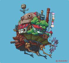 "gabefern: ""Howl's Moving Castle! Easy Pixel Art, English Posters, Studio Ghibli Art, Ghibli Movies, Howls Moving Castle, Illustrations And Posters, Anime, Easy Drawings, Game Art"
