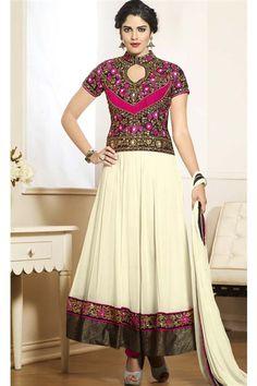 Ivory, Black Georgette Designer Long Salwar Suit