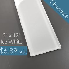 "Discount Glass Tile Store - 3"" x 12"" Glass Subway Series - Ice White Special Price $6.89 sq.ft, $6.89 (http://www.discountglasstilestore.com/3-x-12-glass-subway-series-ice-white-special-price-6-89-sq-ft/)"