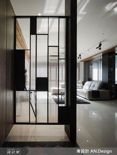 The screen does not touch the ground – Artofit Home Building Design, Home Room Design, Home Interior Design, Interior Architecture, House Design, Partition Door, Partition Design, Glass Partition, Entrance Design