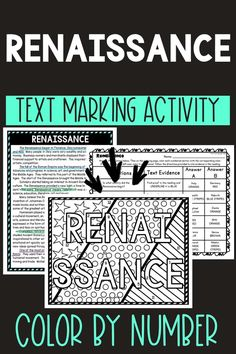 This Renaissance Color by Number and Text Marking activity is the perfect way to bring life to the topic! Students read a non-fiction passage and search for answers while marking evidence from the text. Perfect reading comprehension activity. #Renaissance #History #HomeSchool #Digital #4thgrade #5thgrade #6thgrade #Interactive #MiddleSchool #UpperElementary Middle School History, Middle School Reading, 5th Grade Reading, Student Reading, Earth Science Activities, Geography Activities, History Activities, Holiday Activities, Learning Activities