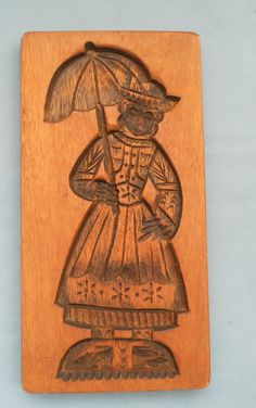 LARGE VINTAGE DUTCH WOODEN SPECULAS COOKIE MOLD
