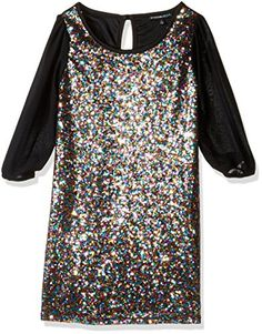 New My Michelle Big Girls' Long Sleeve Sheath Dress With Glitter Sequin Front With Sheer Sleeves and Keyhole Back online. Find the perfect ToBeInStyle girls clothing from top store. Girls Party Dress, Birthday Dresses, Little Girl Dresses, Girls Dresses, Girls Special Occasion Dresses, French Street Fashion, Dress Cuts, Toddler Dress, Sheath Dress