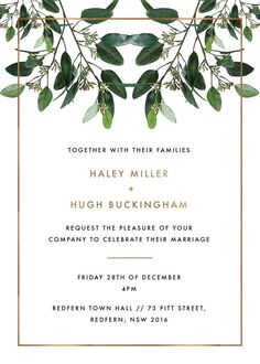 Garden Estate - Invitations. This stunning Garden Estate collection by local designer Haley Johnston is influenced by garden elements and simple fonts and would be perfect for those planning a modern garden ceremony. This Invitations card from the broader collection looks stunning when printed using Foil Stamped and we think it looks best using Paperlust Copper Foil. #weddinginvitation