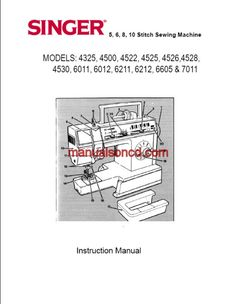Instructions / Owners manual for Singer Models 4325, 4500, 4522, 4525, 4526, 4528, 4530, 6011, 6012, 6211, 6212, 6605 and 7011 5, 6, 8, 10 stitch Zig Zag sewing machine. 48 pages. It also includes oiling instructions. Share this: