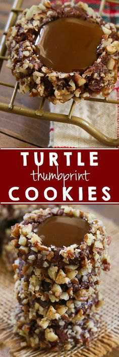 Easy holiday cookies everyone will love!  These Turtle Thumbprint Cookies are packed full of flavor and are easy to make! #food #christmas