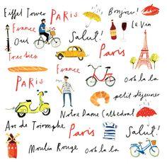 Paris France, France Map, Paris Illustration, Cute Illustration, Paris Drawing, France Drawing, Eiffel, Oui Oui, Graphic Design Posters