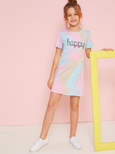 To find out about the Girls Letter Print Tie Dye Dress at SHEIN, part of our latest Girls Dresses ready to shop online today! Preteen Girls Fashion, Girls Fashion Clothes, Teen Fashion Outfits, Kids Fashion, Cute Girl Outfits, Kids Outfits Girls, Cute Casual Outfits, Tie Dye Dress, Tee Dress