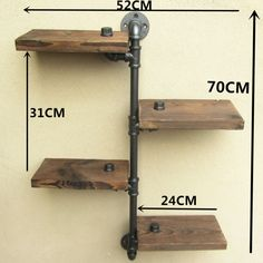URBAN INDUSTRIAL RUSTIC WALL MOUNT IRON PIPE 4 TIERS WOOD SHELF SHELVING STORAGE