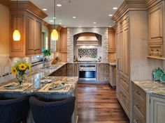 Inspired Examples of Granite Kitchen Countertops | Kitchen Designs - Choose Kitchen Layouts & Remodeling Materials | HGTV Cambria Countertops, Outdoor Kitchen Countertops, Granite Kitchen, Kitchen Cabinets, Granite Bathroom, Granite Worktops, Farmhouse Cabinets, Backyards, Kitchens
