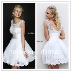 LP0028 Charming A-Line Jewel Collar White Beaded Lace Short Mini Empire Party Gowns Prom Dresses Sleeveless Fast Shipping