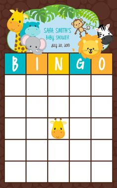 5.5x8.5 Bingo NEW Jungle Baby Shower Game On Etsy, $10.00