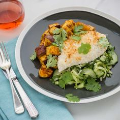 Coconut-Crusted Chicken with Red Curry Kumara and Asian Dressed Greens