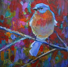 blue bird | BLUE BIRD ON RED, original painting by artist Elizabeth Blaylock ...