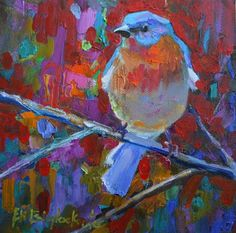 blue bird | BLUE BIRD ON RED, original painting by artist Elizabeth Blaylock ...