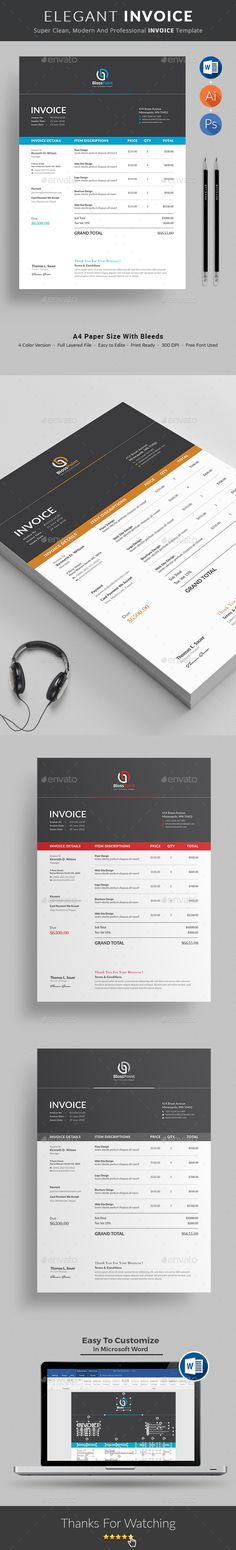 - Proposals & Invoices Stationery Invoice Template Use this Clean Invoice for personal, corporate or company billing purpose. Excel Auto Calculation features are available. This Simple Invoice will help you to create your invoice very quick and easy. Invoice Design Template, Stationery Templates, Print Templates, Brochure Template, Letterhead Logo, Printable Invoice, Change Logo, Layout, Information Graphics