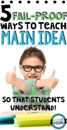 5 Fail-Proof Ways to Teach Main Idea So That Students Understand (with free resources for your classroom) Reading Lessons, Reading Resources, Reading Strategies, Reading Skills, Teaching Reading, Guided Reading, Reading Activities, Reading Workshop, Reading Groups