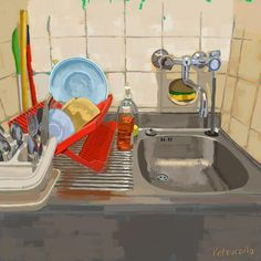 Kitchen Art, Kitchen Sink, Samsung Galaxy Tablet, Free Beer, Painting Still Life, Months In A Year, Anime Comics, Interiors, Florence
