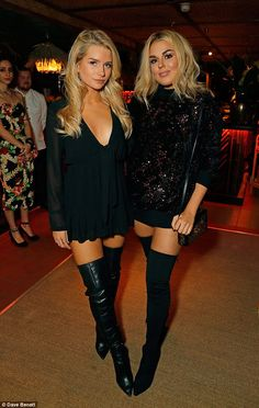 Twice as nice:Lottie Moss (left) and Tallia Storm (right) picked out leggy looks as they ...