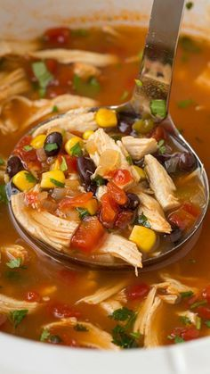 Slow Cooker Chicken Tortilla Soup Recipe ~ incredibly hearty, feel good soup.