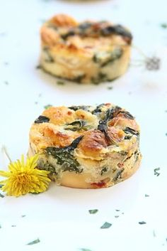 ShowFood Chef: Dandelion Bread Pudding with Sundried Tomatoes and Gruyere Cheese