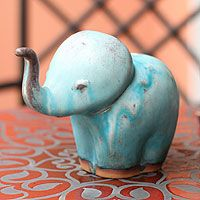Turquoise Elephant Child from @NOVICA, They help #artisans succeed worldwide.