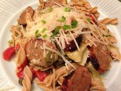 Low Carb Sausage and Artichoke Pasta This dish is easily modified to fit your taste – add red pepper flakes or garlic for a more intense flavor!