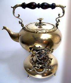 Elegant Shaped Samovar Teapot Brass Art Nouveau 19th C