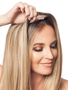 Top of head hair extensions.