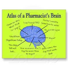 Funny Pharmacist's Brain Gifts Postcard at Zazzle.ca
