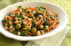 Chickpea salad with olives and parsley http://www.vegkitchen.com/recipes/chickpea-and-carrot-salad-with-parsley-and-olives/